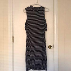 RD Style Navy/White Striped Midi Length Dress